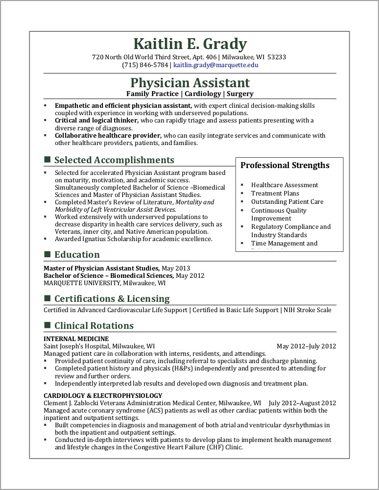 Physician Assistant Curriculum Vitae Template
