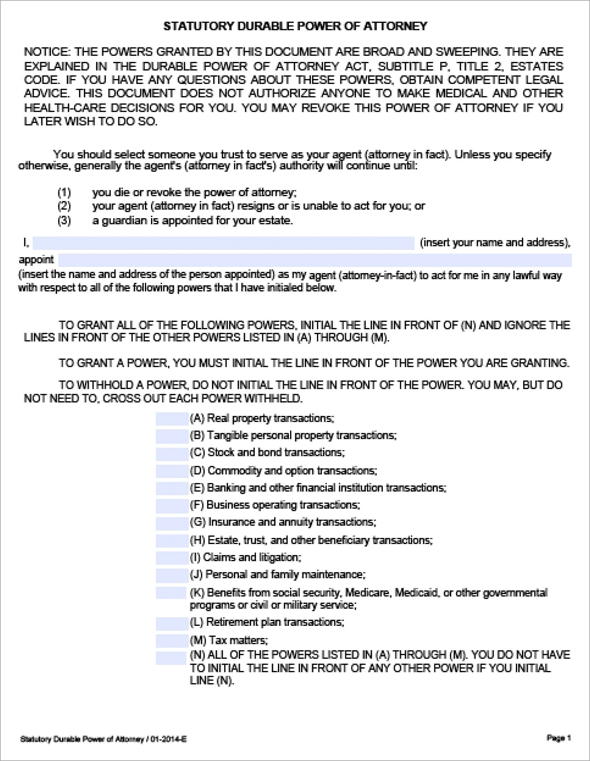 Power Of Attorney Document Template Canada