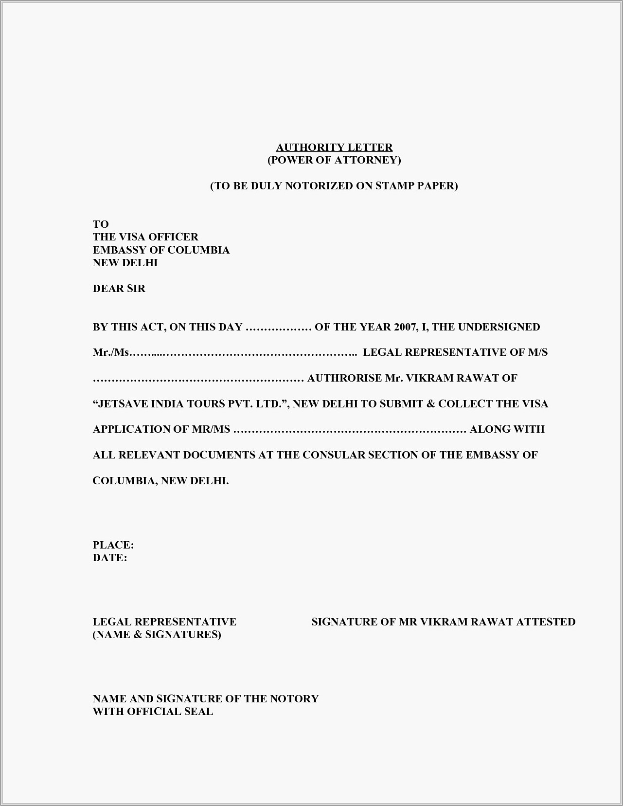 Power Of Attorney Example Letter