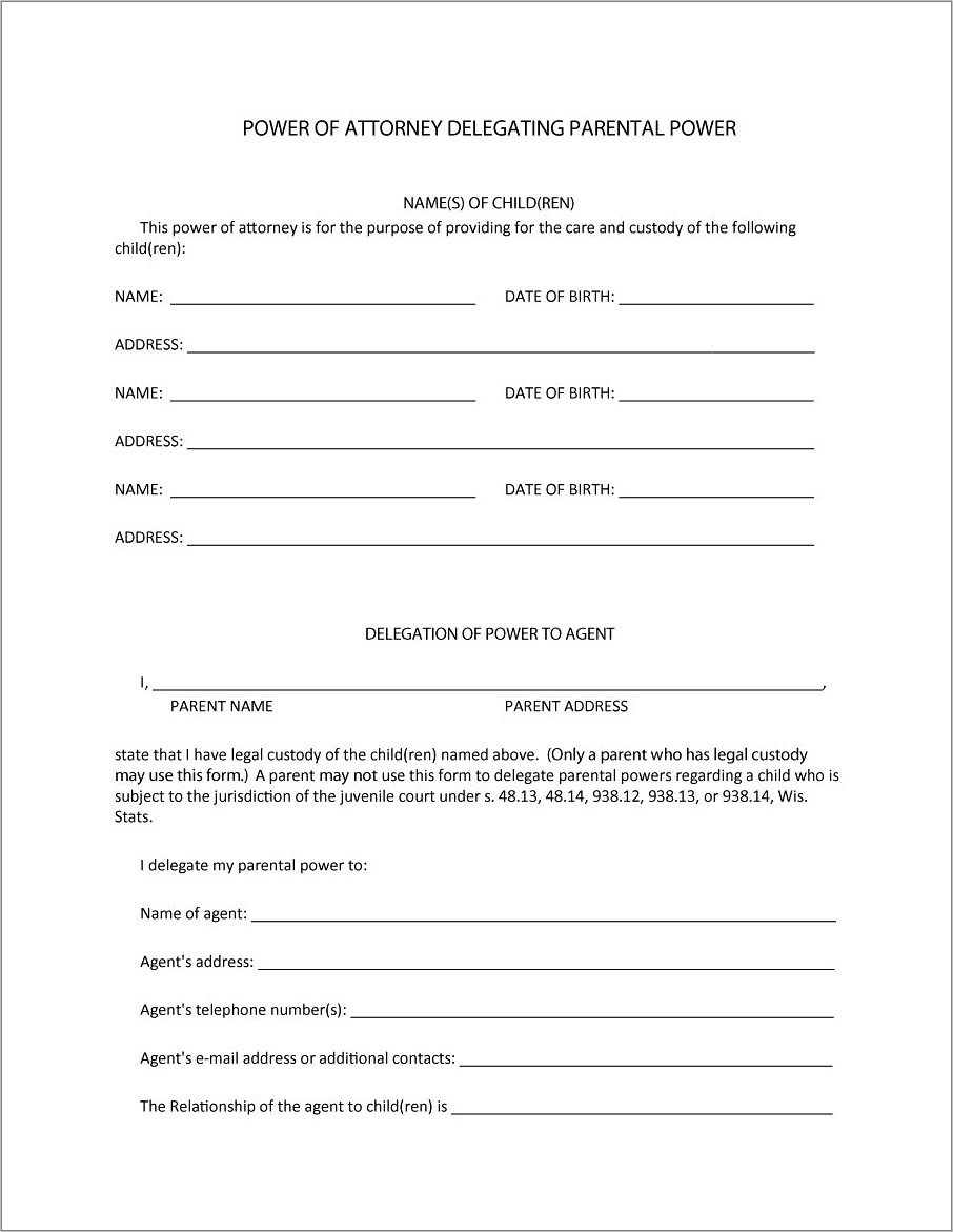 Power Of Attorney Example Template