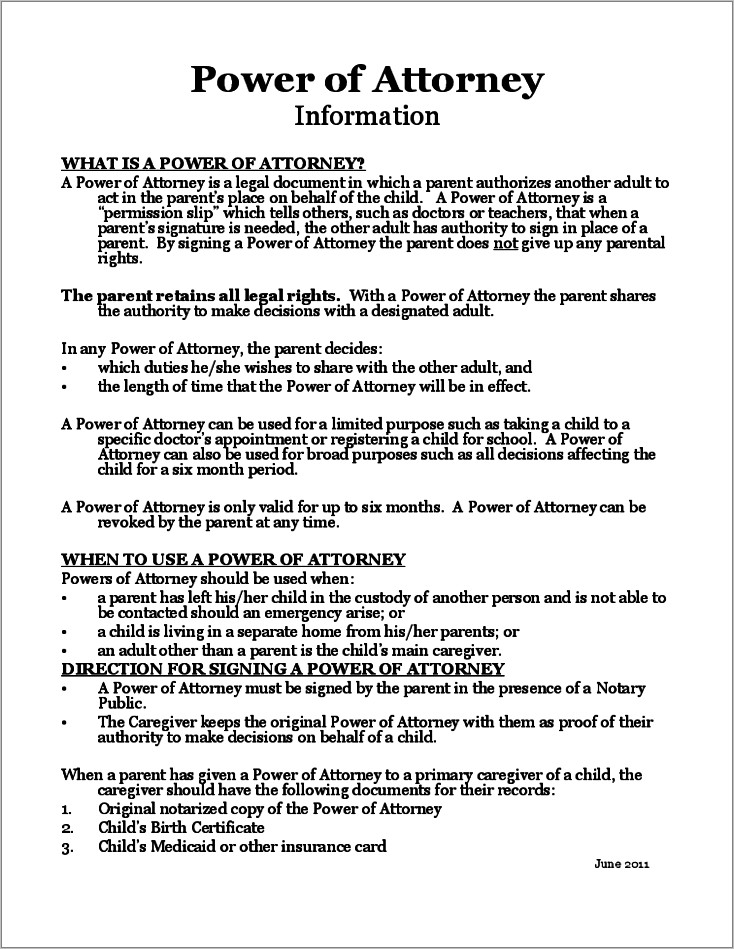 Power Of Attorney Form Florida For Child