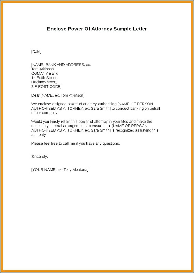 Power Of Attorney Letter For Bank Account