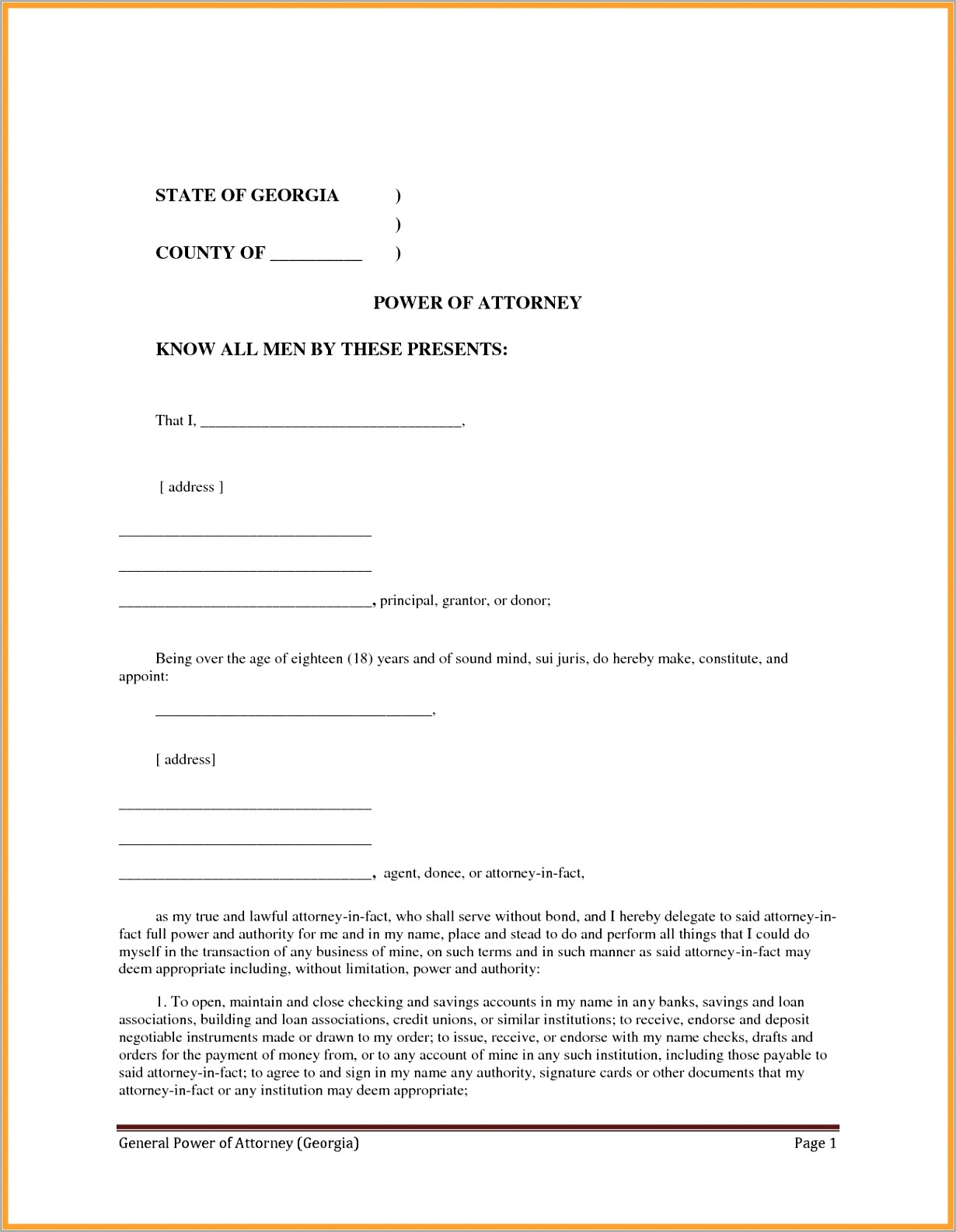 Power Of Attorney Letter Template Free