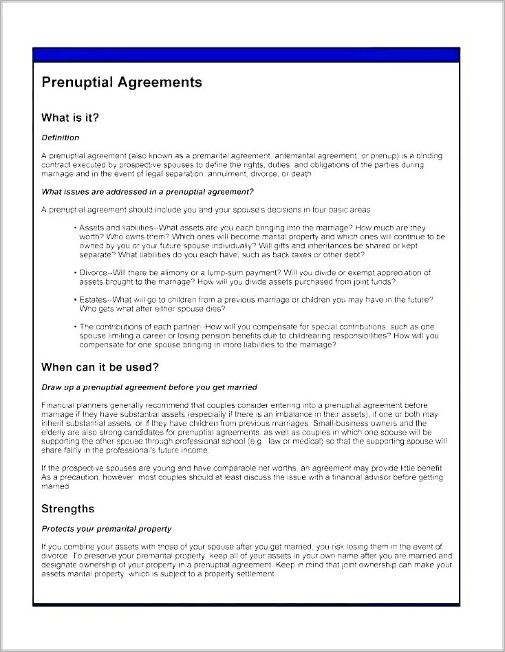Prenuptial Agreement Bc Free Template