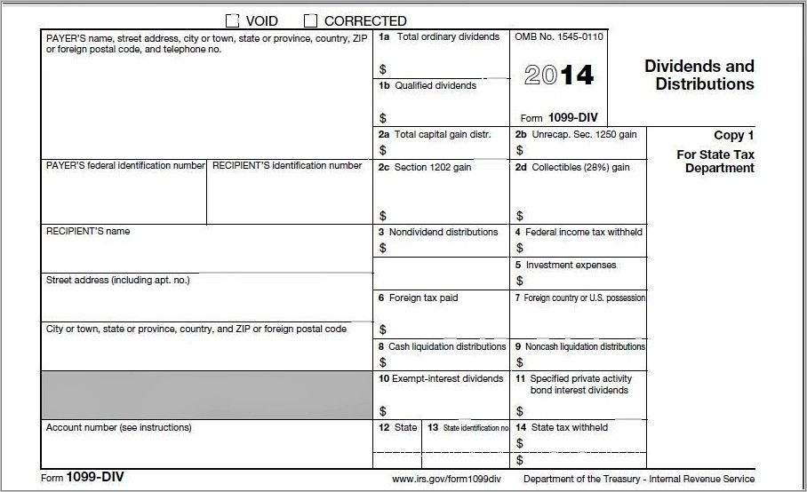 Printable 1099 Misc Form Template