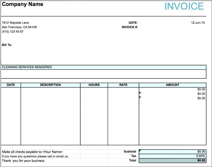 Professional Services Invoice Example