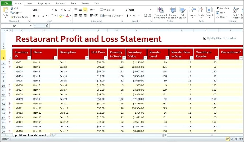 Profit And Loss Account Format Word