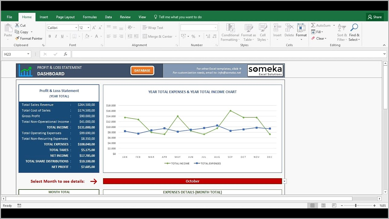 Profit And Loss Account Template Xls