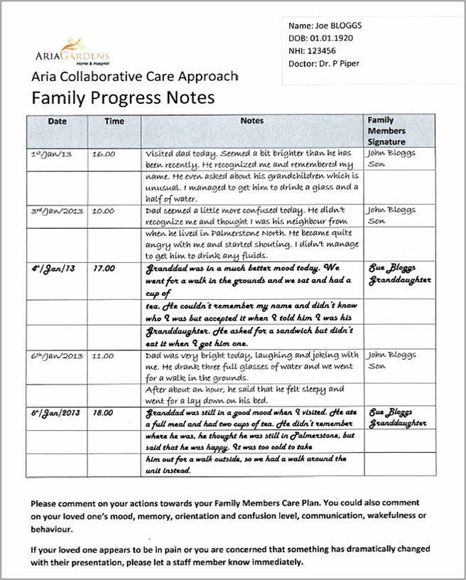 Progress Notes Example Aged Care