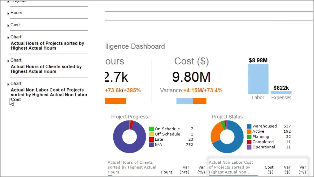 Project Management Dashboard Sample