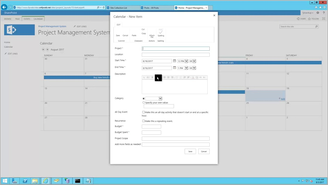 Project Management Sharepoint Template