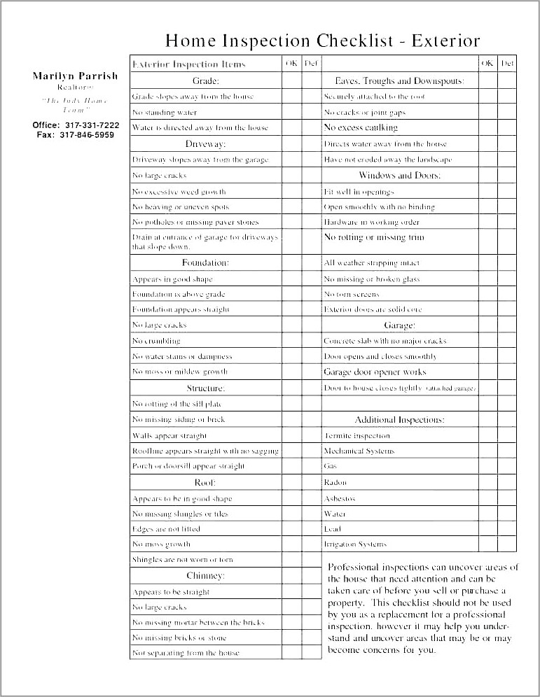 Property Condition Report Template Wa