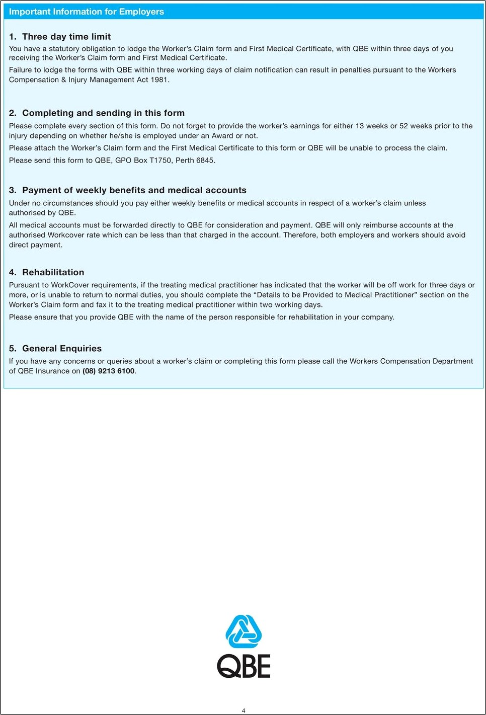 Qbe Workers Compensation Claim Form Nsw
