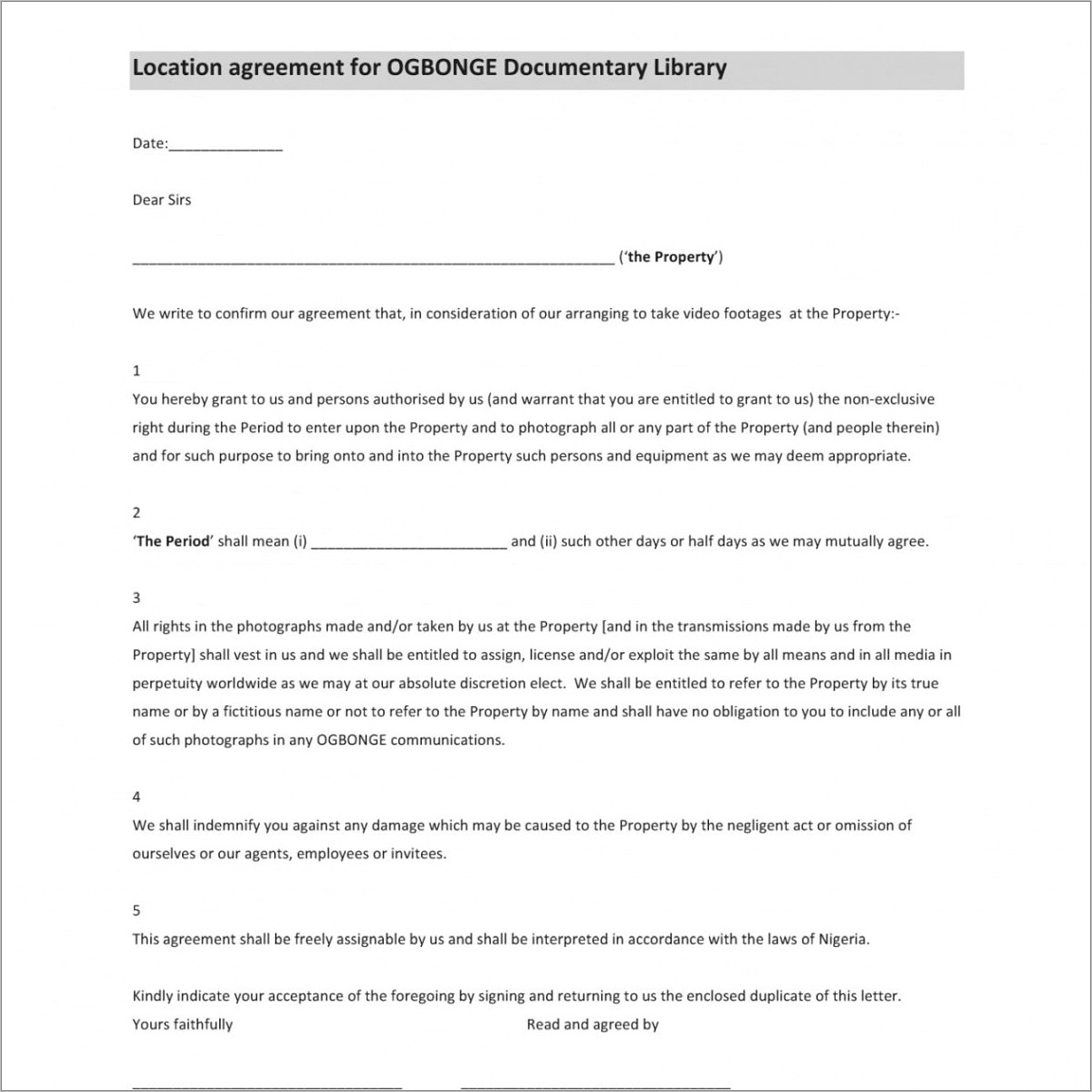 Release Form Film Template
