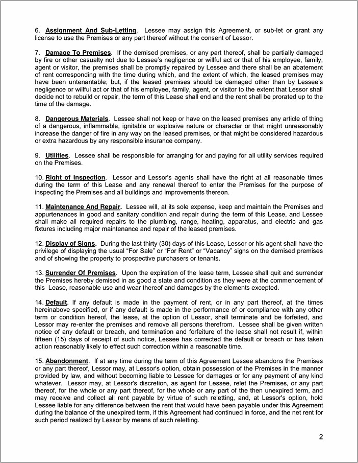 Residential Lease Agreement Florida Word