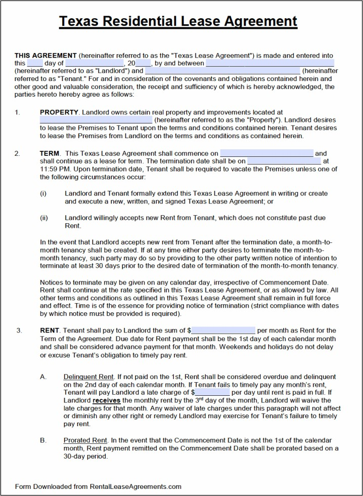 Residential Lease Agreement Form Florida