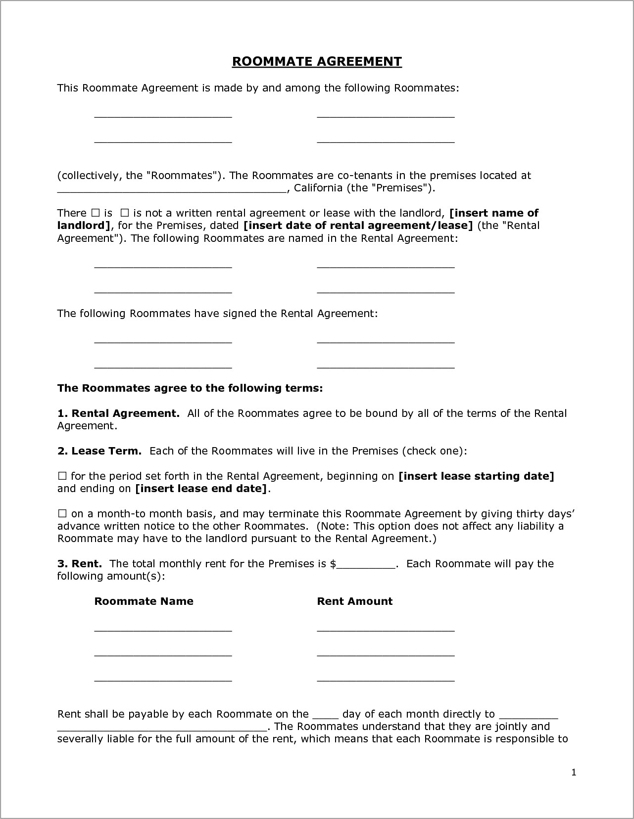 Residential Lease Agreement Template Texas