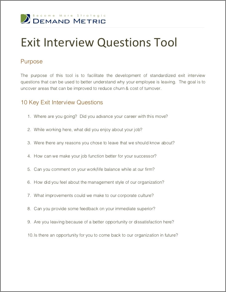 Sample Exit Interview Questions For Students