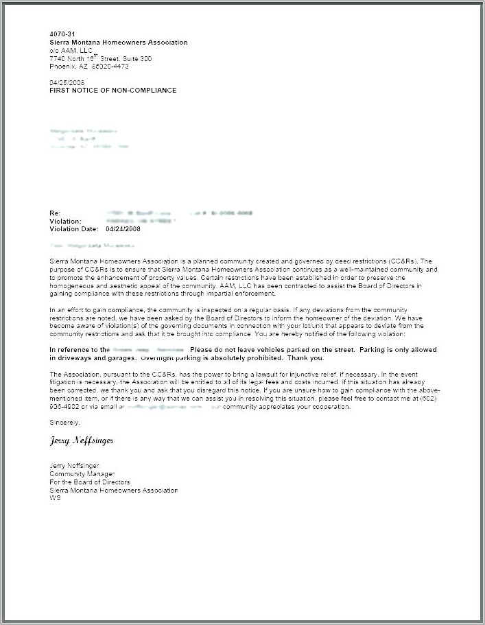 Sample Homeowners Association Violation Letters