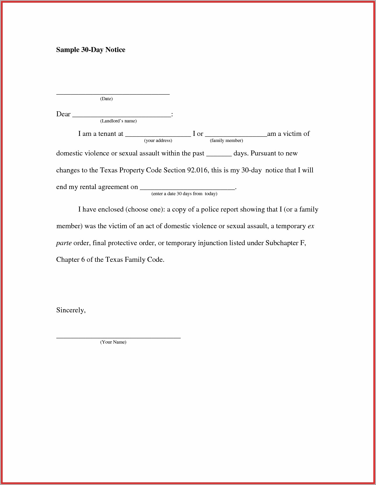 Sample Letter 30 Days Notice To Landlord