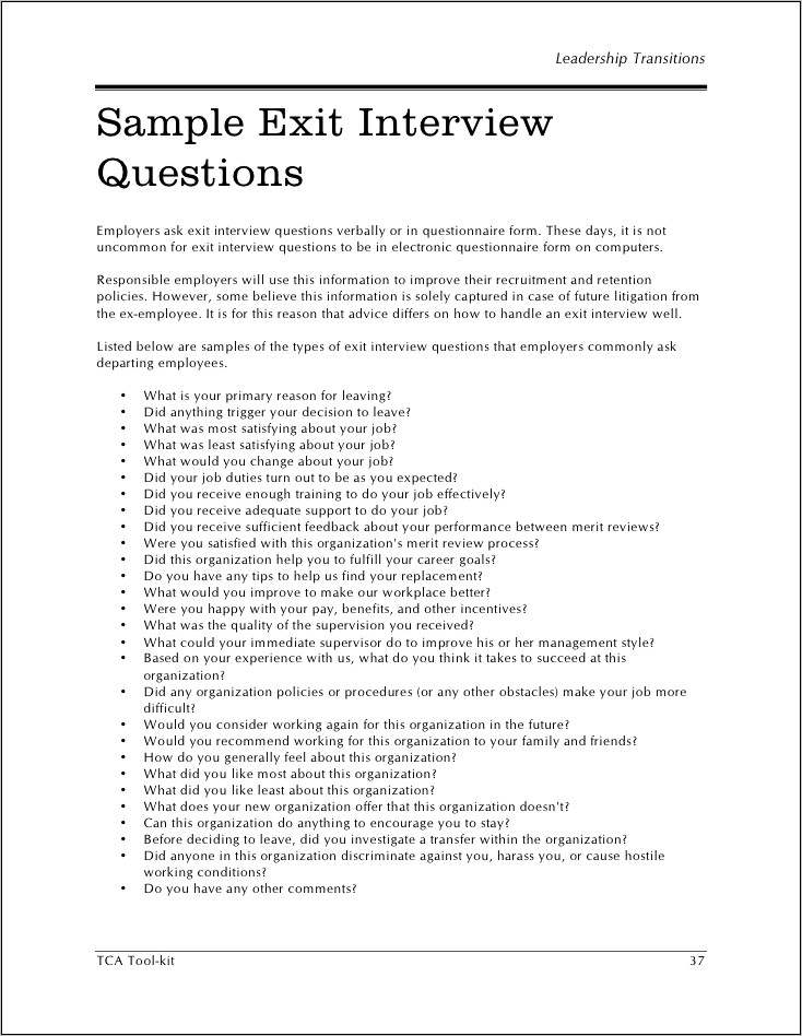 Sample Of Exit Interview Questions And Answers