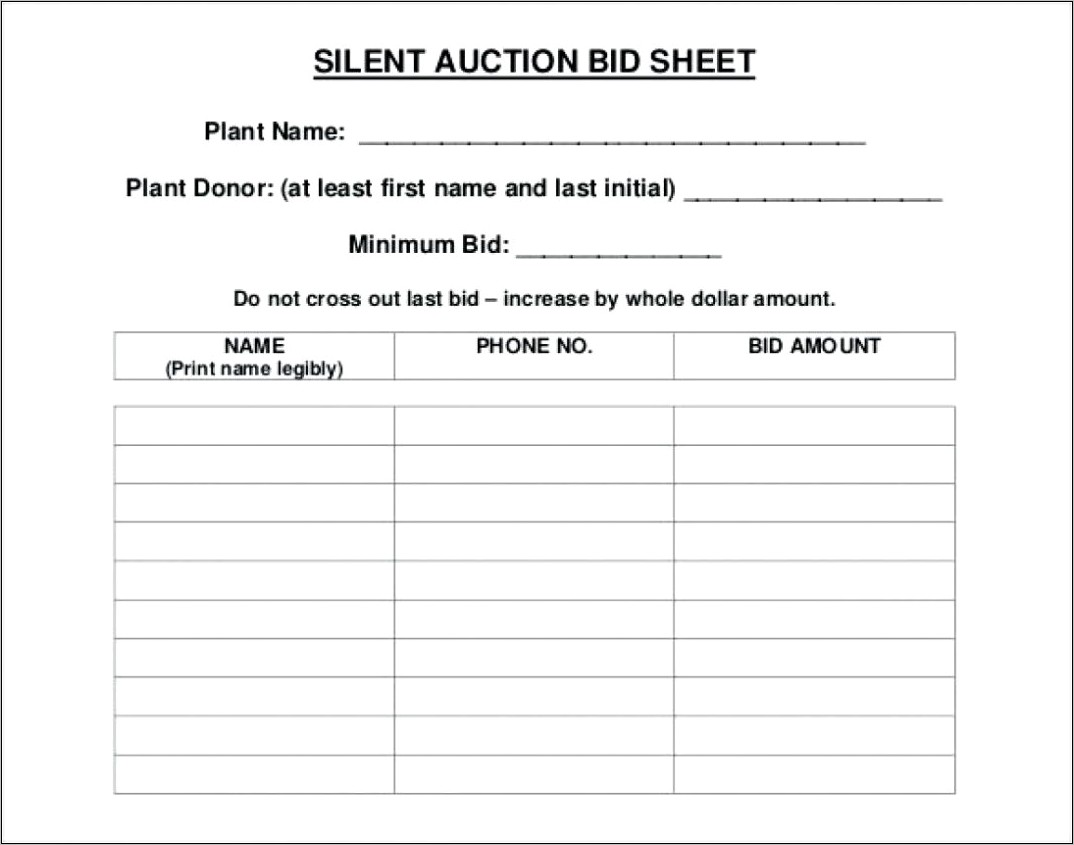 Silent Auction Bidding Forms