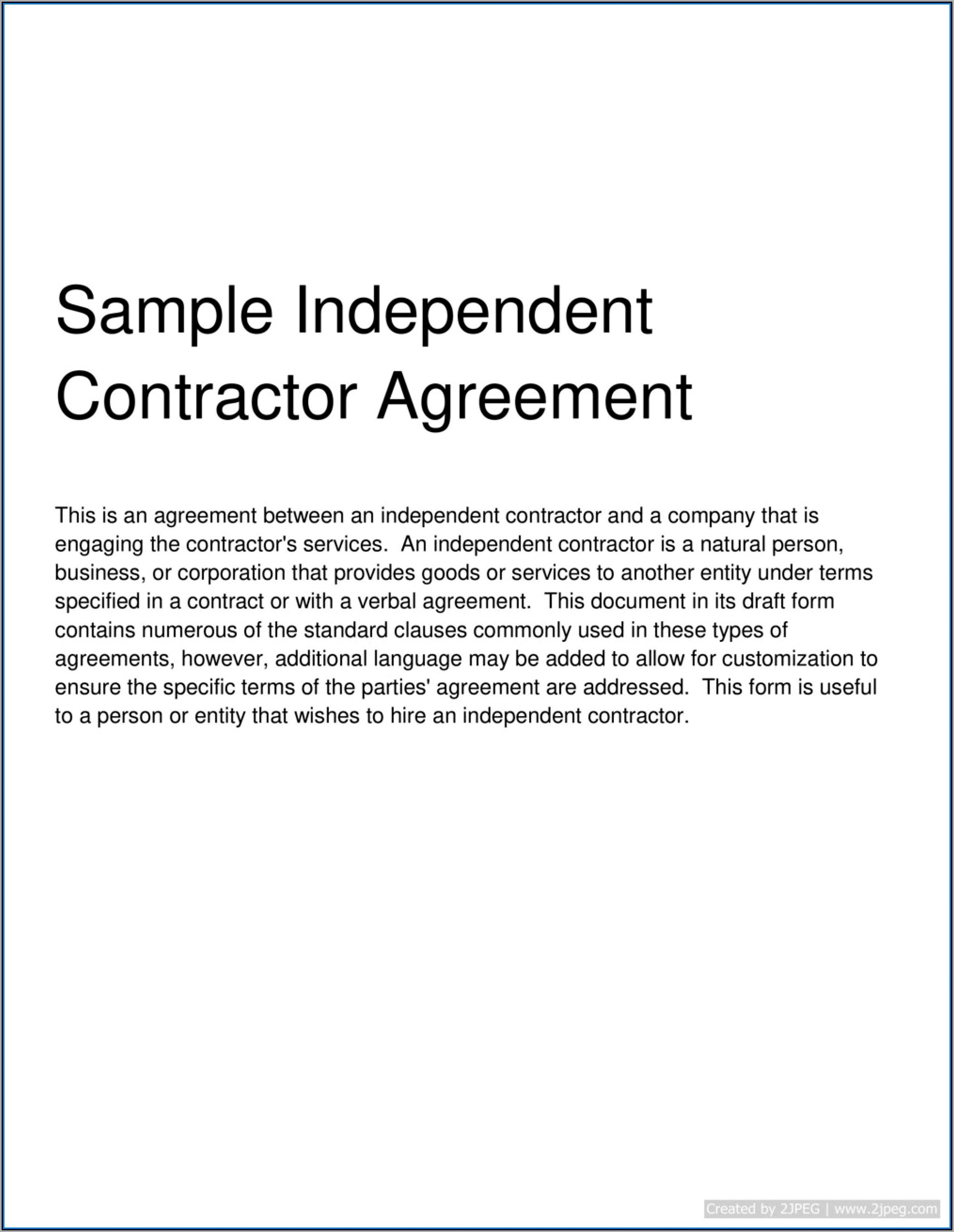 Simple Independent Contractor Agreement Template Canada