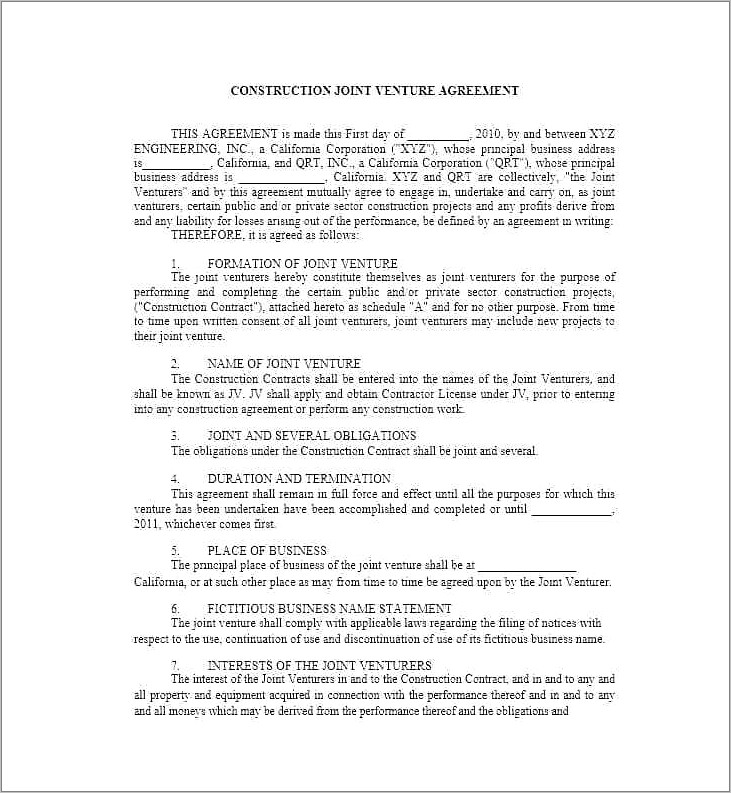 South African Joint Venture Agreement Template