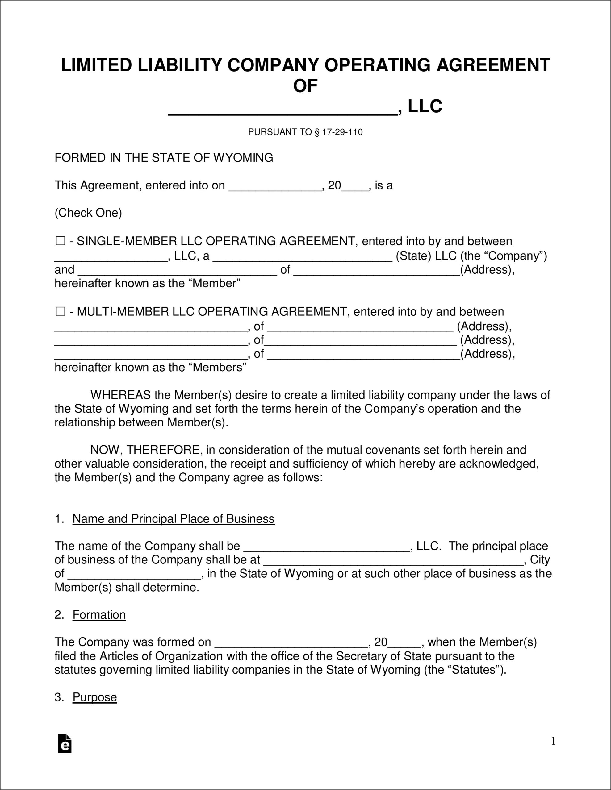 State Of Wyoming Llc Forms