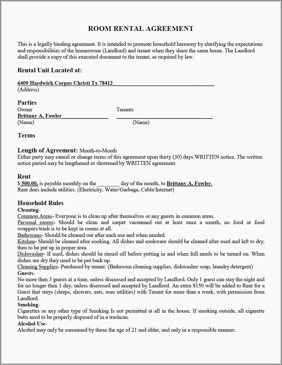Tenants Lease Agreement Form