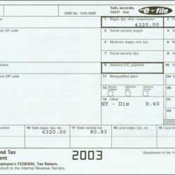 W2 Tax Form Example