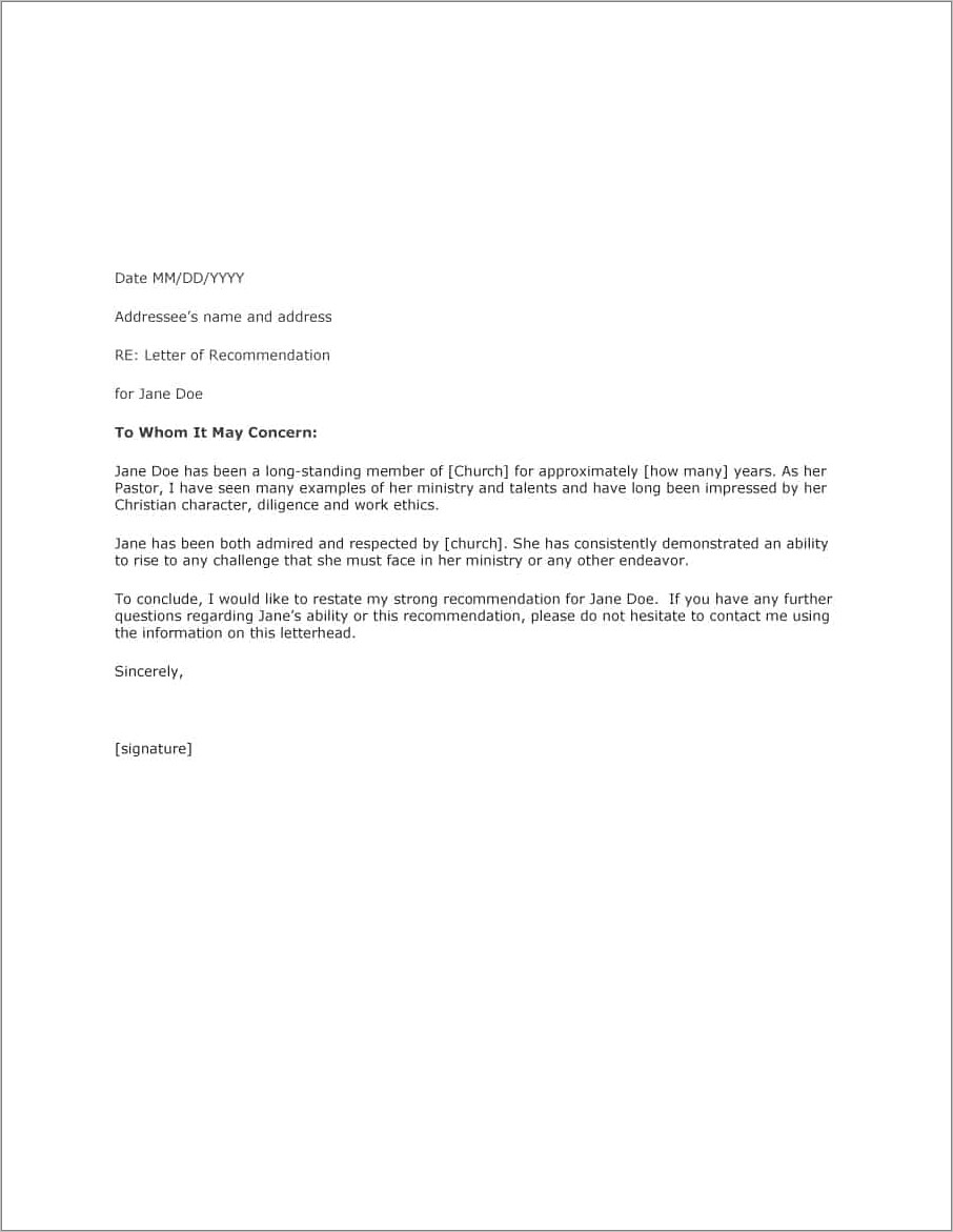Writing Letter Of Recommendation For Employee