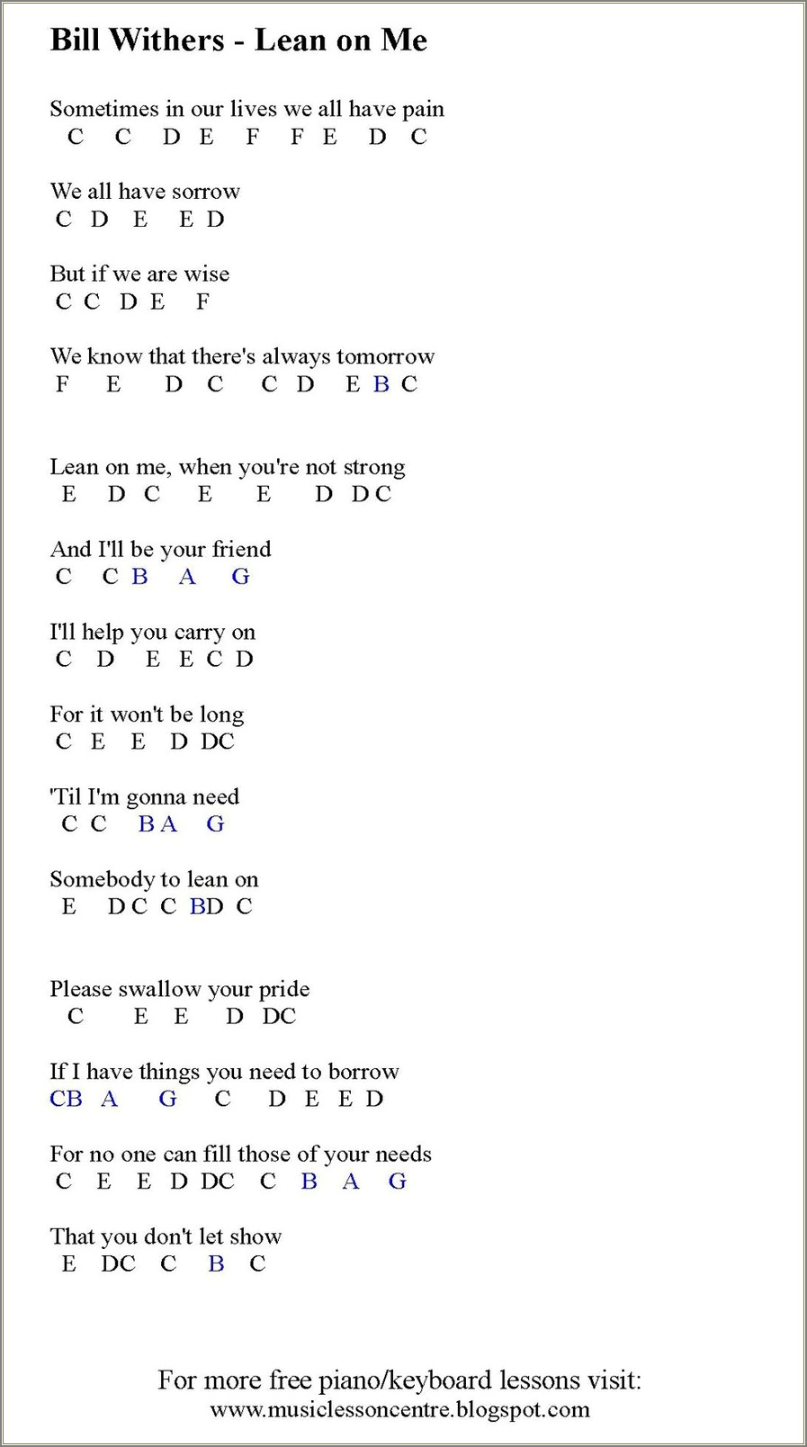 All Of Me Piano Notes Letters