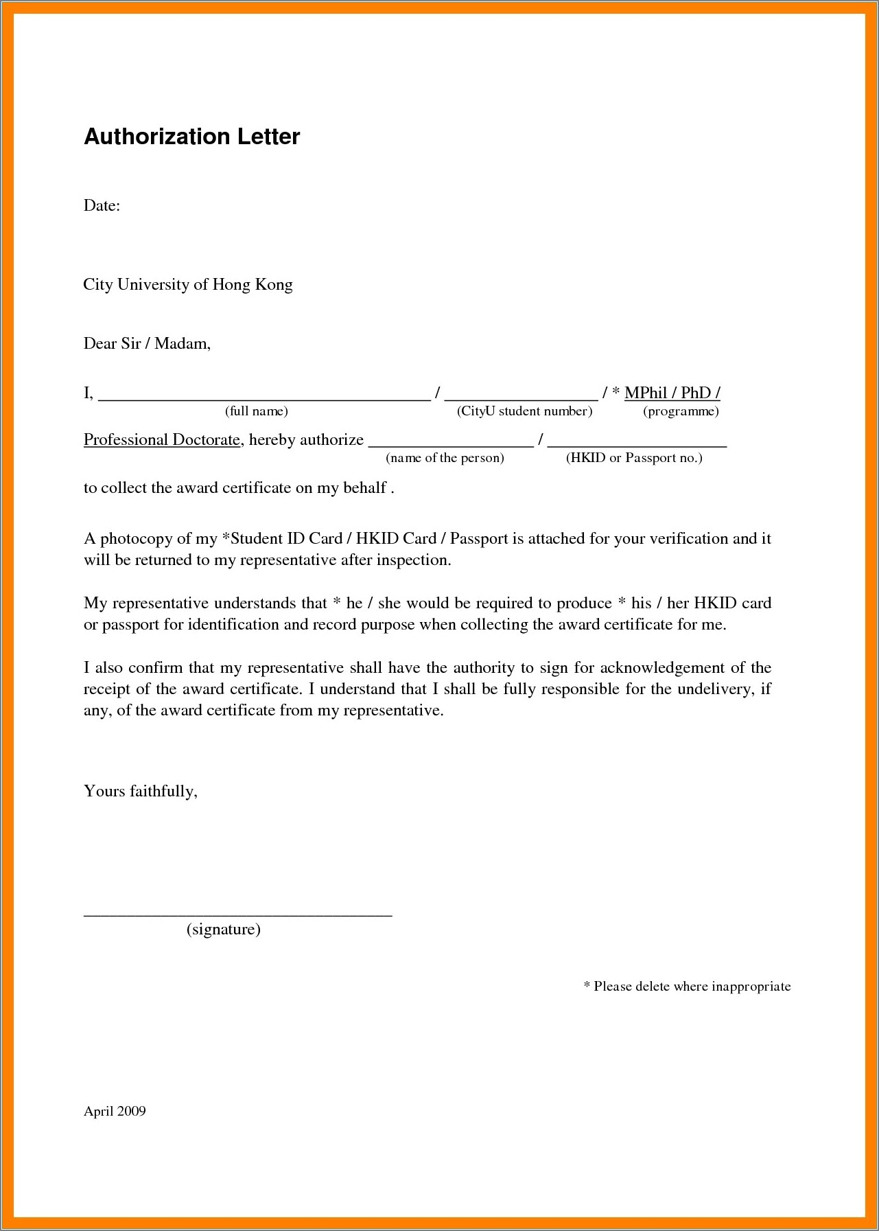 Authorization Letter For Passport Renewal