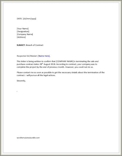 Business Contract Termination Acceptance Letter