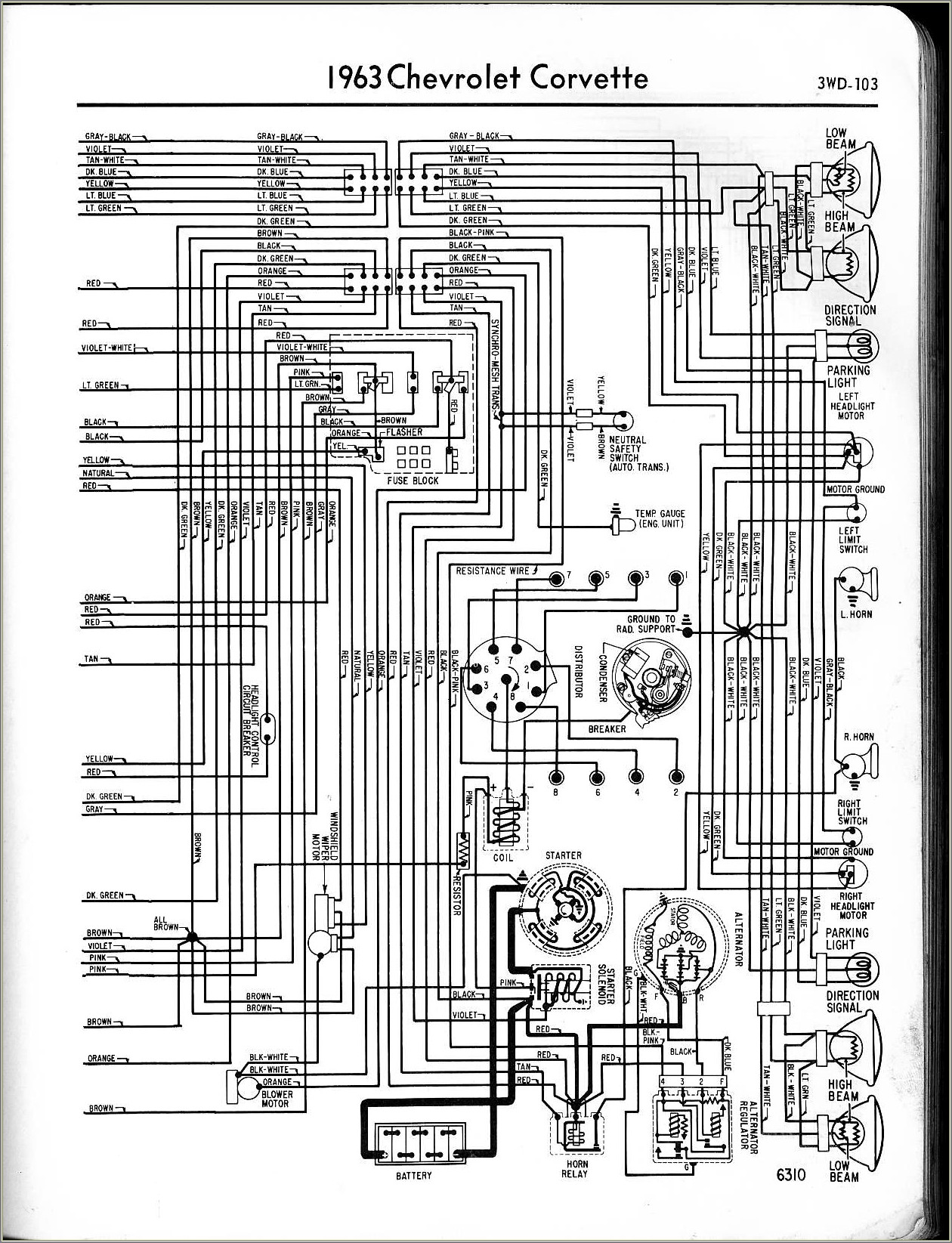 C3 Corvette Headlight Wiring Diagram
