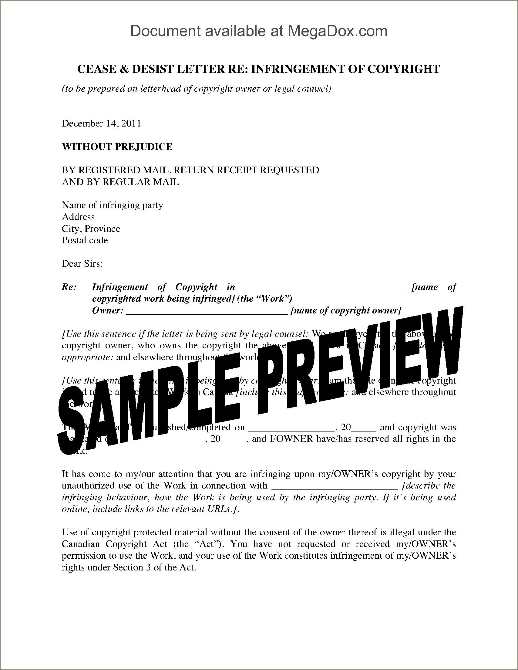Canadian Cease And Desist Letter Template