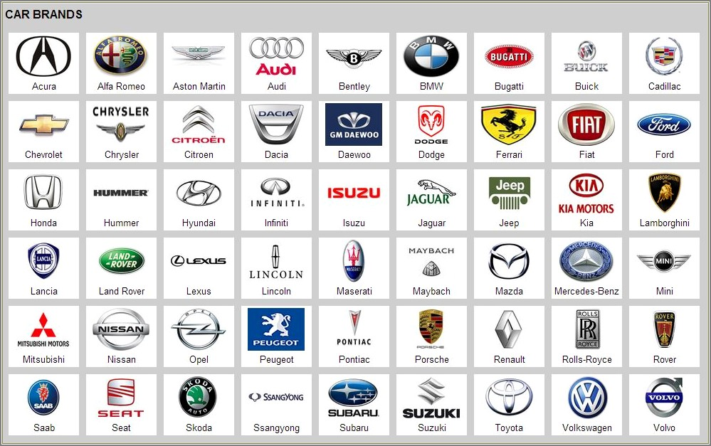 Car Models Starting With The Letter P