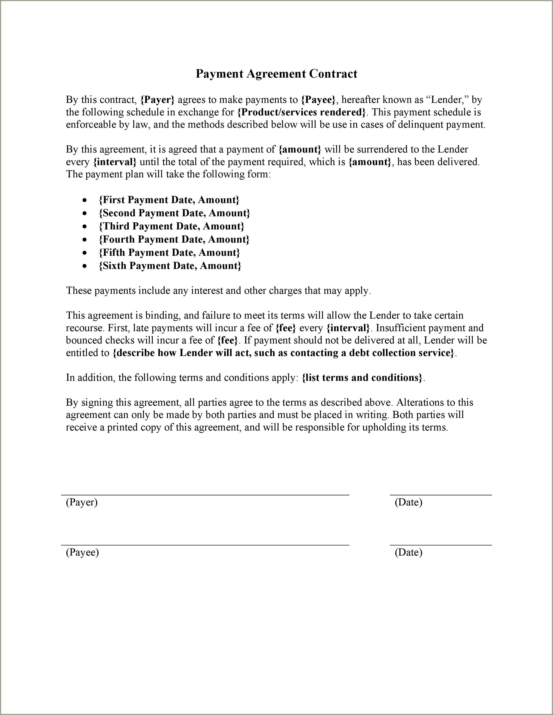 Car Payment Agreement Letter