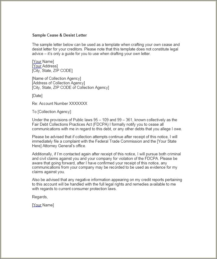 Cease And Decease Letter Template