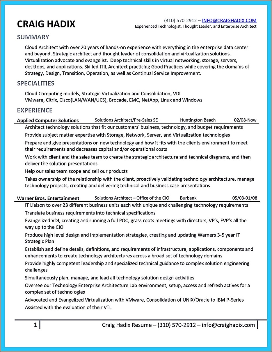 Cloud Engineer Cover Letter