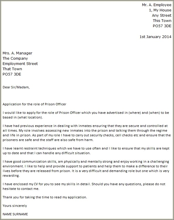 Correctional Officer Cover Letter Template
