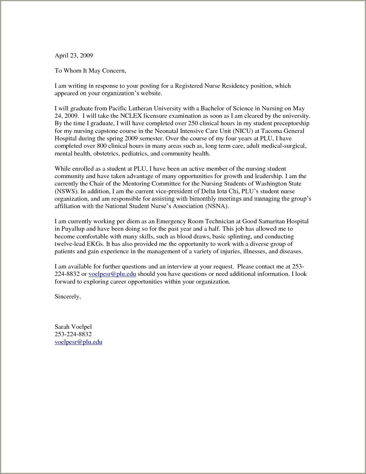 Cover Letter Mla Format Examples