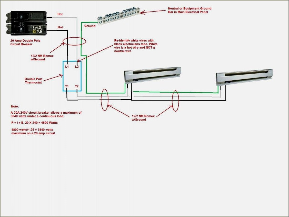 Double Pole Thermostat Wiring Diagram Baseboard Heater