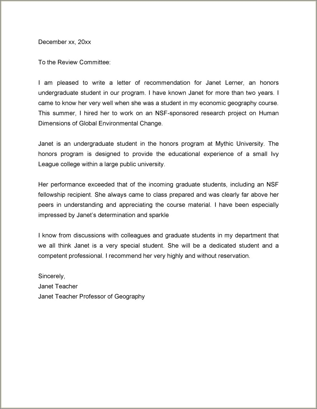 Downloadable Letter Of Recommendation Template