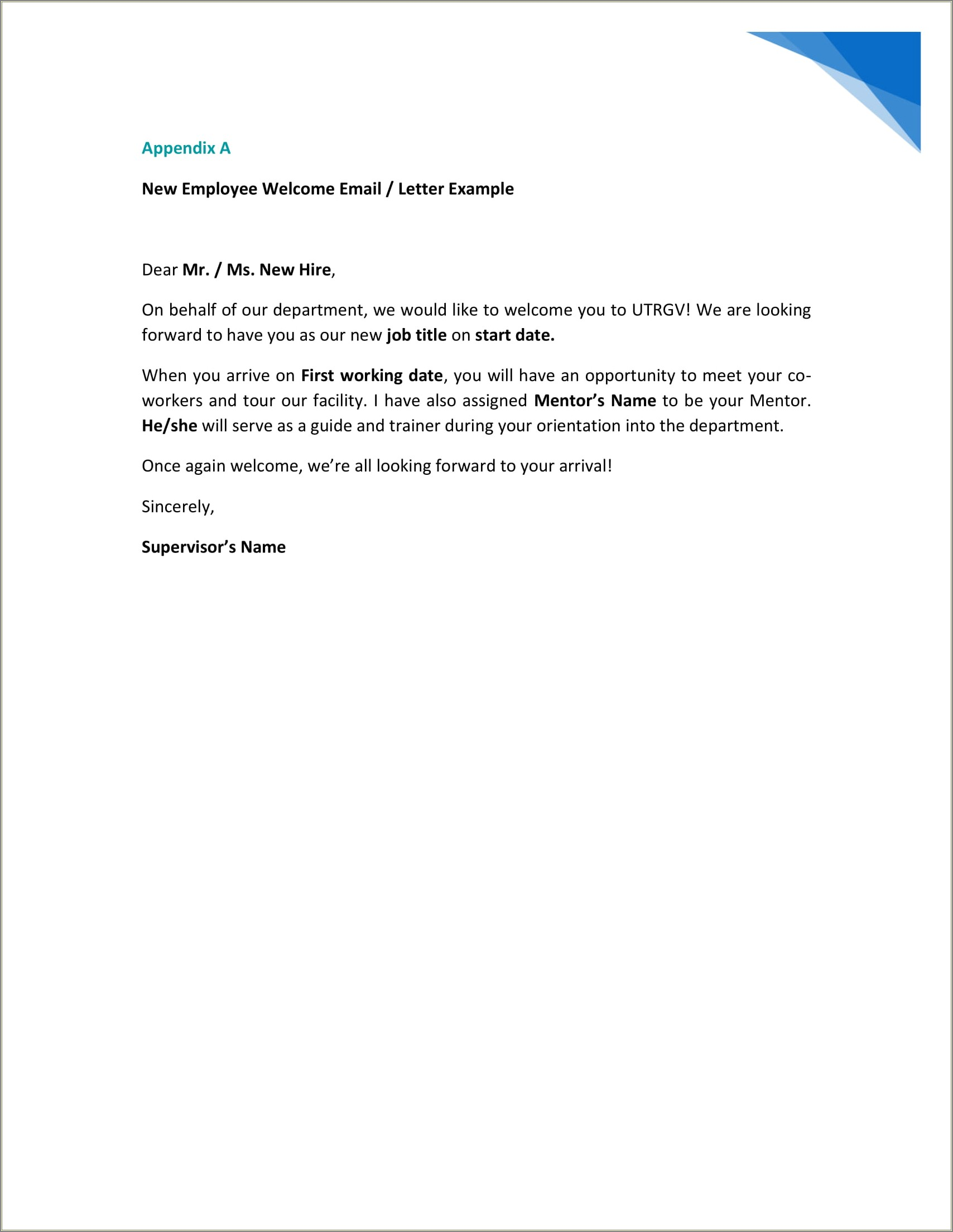 Employee Welcome Letter For New Hires
