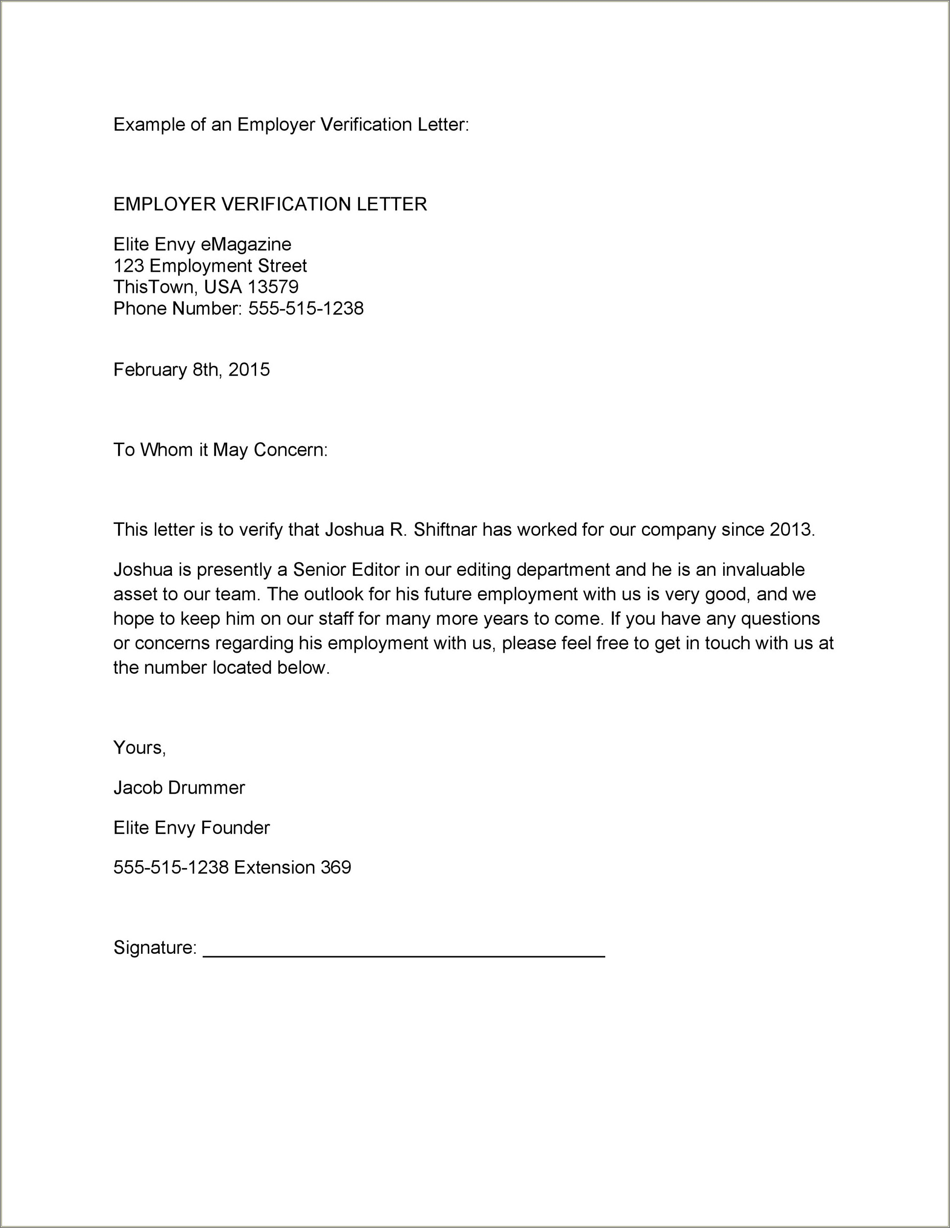 Employment Verification Letter Template Word Free