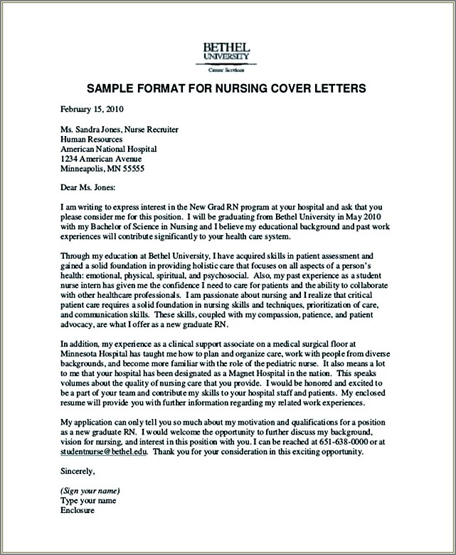 Entry Level Nurse Cover Letter Examples