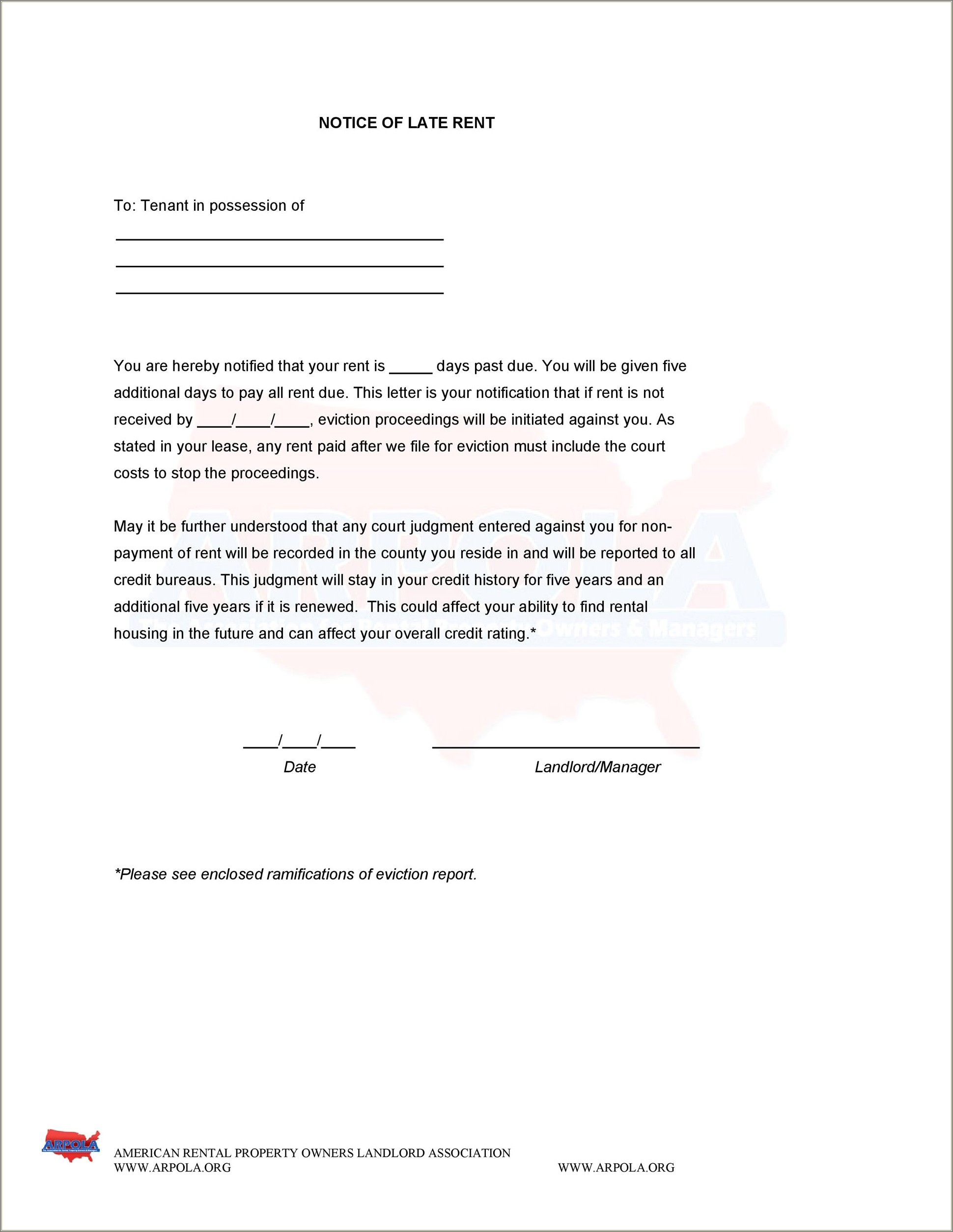 Eviction Notification Letter Sample