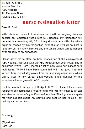 Example Of A Resignation Letter For Nurses